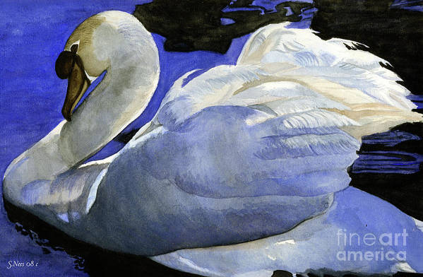 Swan Art Print featuring the painting Swan by Shari Nees