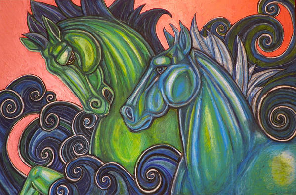 Horse Art Print featuring the pastel Swimming Horses by Lynnette Shelley