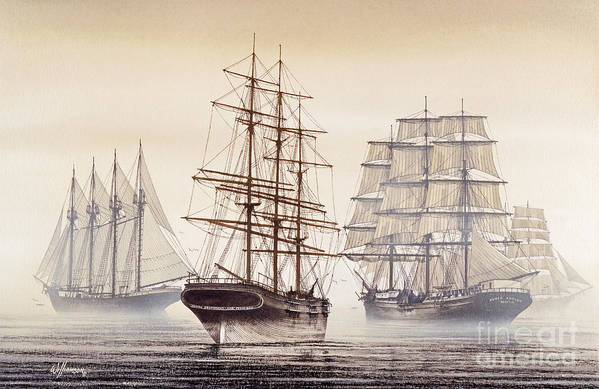 Tall Ship Print Art Print featuring the painting Tall Ships by James Williamson