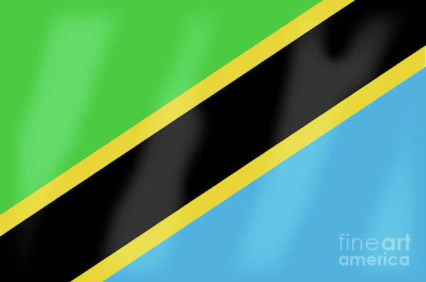 Tanzania Art Print featuring the digital art Tanzania Flag by Bigalbaloo Stock