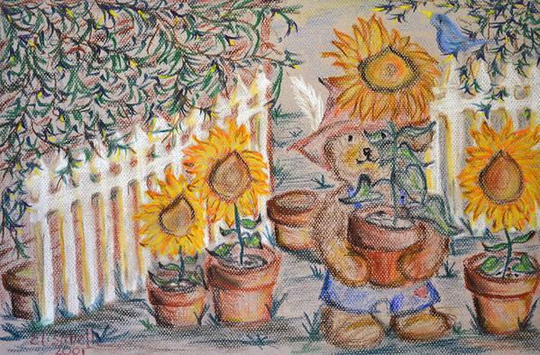Teddy Bear Art Print featuring the pastel Teddy's Sunshine by Elisabeth Achauer