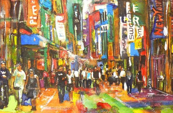 Cities Art Print featuring the painting Thank You For Shopping On Sunday by Dreja Novak