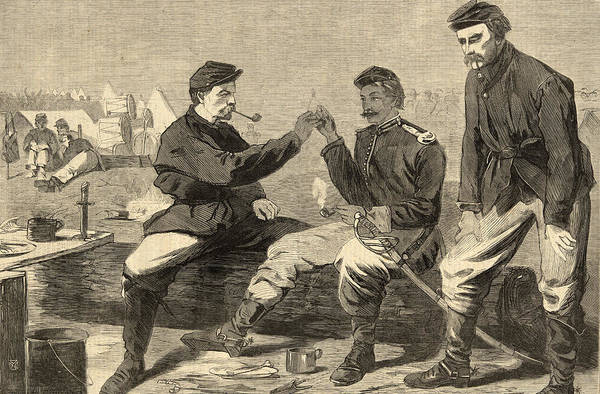 Soldiers Art Print featuring the drawing Thanksgiving Day In The Army by Winslow Homer
