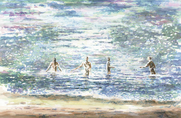 Swimmers Art Print featuring the painting The Bathers by Al CAzu Alan Williamson