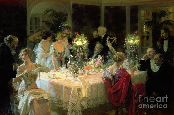The Art Print featuring the painting The End Of Dinner by Jules Alexandre Grun