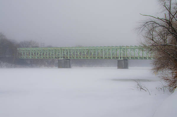Falls Art Print featuring the photograph The Falls Bridge And The Frozen Schuylkill River by Bill Cannon
