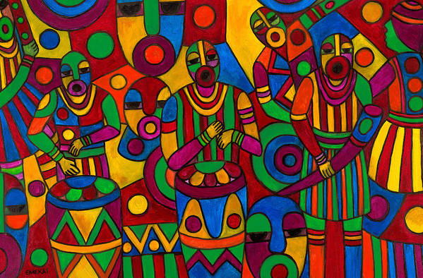 Abstract Art Print featuring the painting The Festival by Emeka Okoro