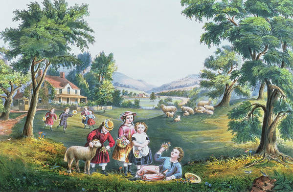Print; Children; Sheep; Spring; American Dream Art Print featuring the painting The Four Seasons Of Life Childhood by Currier and Ives