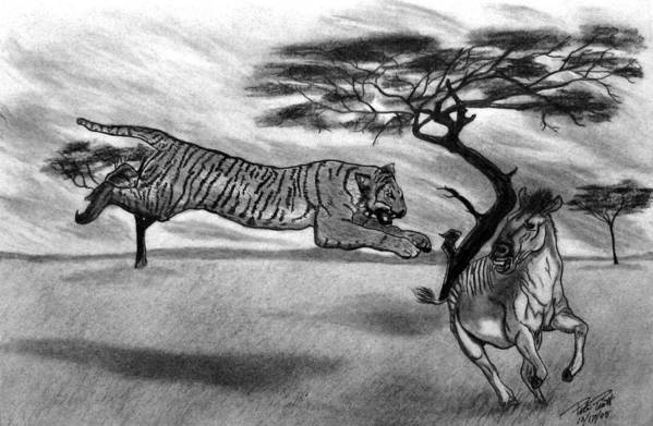 The Lunge Art Print featuring the drawing The Lunge by Peter Piatt