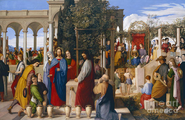 The Marriage At Cana Art Print featuring the painting The Marriage At Cana by Julius Schnorr von Carolsfeld
