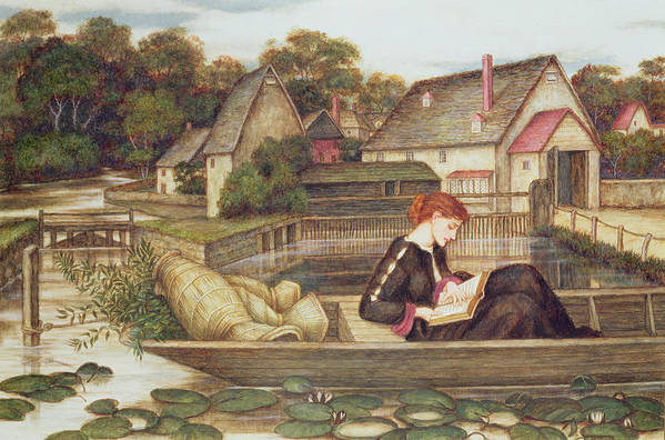 Waterlilies; Boat; Woman Reading; Pre-raphaelite Art Print featuring the painting The Mill by John Roddam Spencer Stanhope