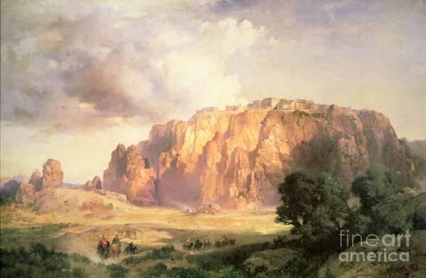 The Pueblo Of Acoma Art Print featuring the painting The Pueblo Of Acoma In New Mexico by Thomas Moran