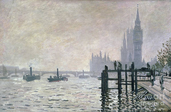 The Print featuring the painting The Thames Below Westminster by Claude Monet