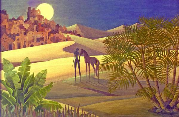 Desert Moon Ancient City Horse Quest Jungle Mystery Art Print featuring the painting The Traveller by Jennifer Baird