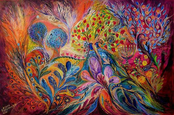 Original Art Print featuring the painting The Trees Of Eden by Elena Kotliarker