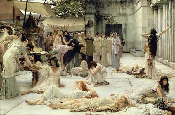 The Art Print featuring the painting The Women Of Amphissa by Sir Lawrence Alma-Tadema