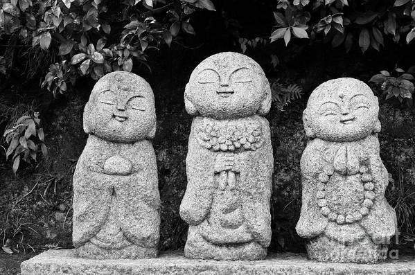 Buddha Art Print featuring the photograph Three Happy Buddhas by Dean Harte