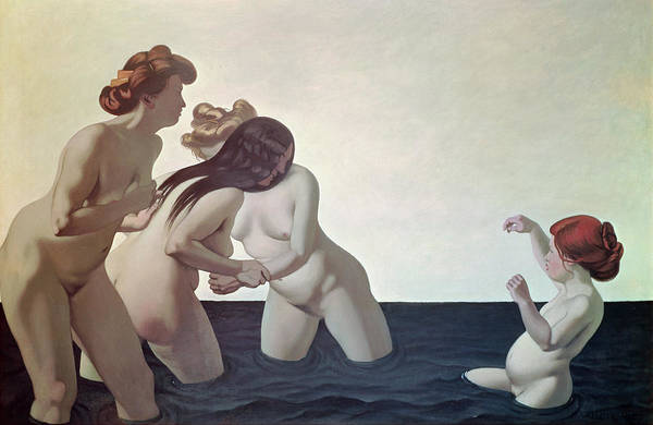 Three Print featuring the painting Three Women And A Young Girl Playing In The Water by Felix Edouard Vallotton