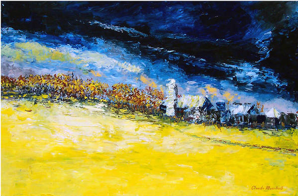 Abstract Art Print featuring the painting Thunderstorm by Claude Marshall