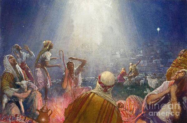 Flock; Star; David; Bethlehem; Night; Jesus; Christ; Nativity; Birth; Wonder; Light; Happiness; Sheep; Lamb; Camp; Tidings Of Great Joy Print featuring the painting Tidings Of Great Joy by John Millar Watt