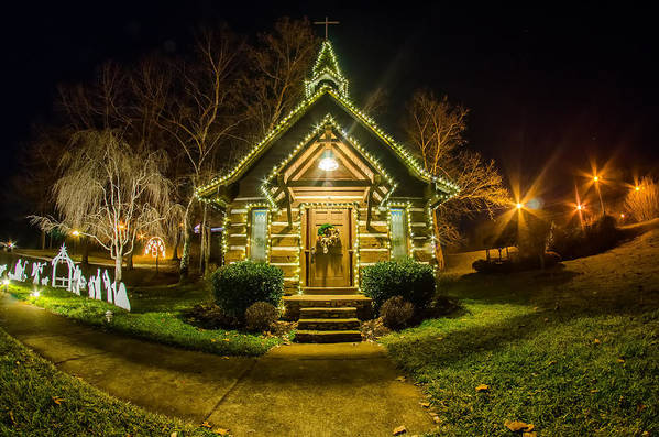 Tiny Art Print featuring the photograph Tiny Chapel With Lighting At Night by Alex Grichenko