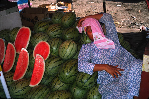 Woman Art Print featuring the photograph Too Hot To Sell Watermelons by Carl Purcell