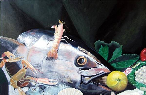 Still Life Art Print featuring the painting Tuna Head In Venice by Michael Henderson
