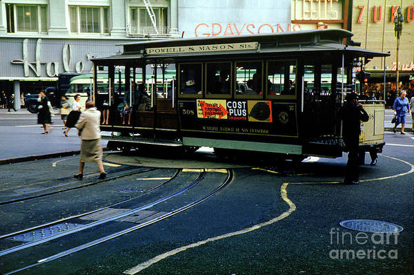 Hale's Art Print featuring the photograph Turnaround At Powell And Mason Streets, April 6 1961 by Wernher Krutein