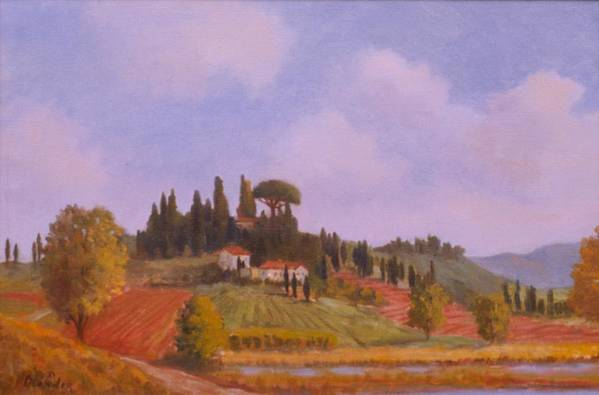 On Location Landscape In Tuscany Italy Art Print featuring the painting Tuscan Hillside by David Olander