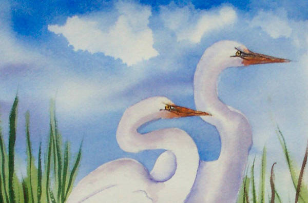 Egrets Art Print featuring the painting Twin Egrets 2 by Ruth Bevan