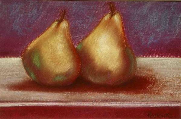 Pears Art Print featuring the pastel Twins by Helen O Hara