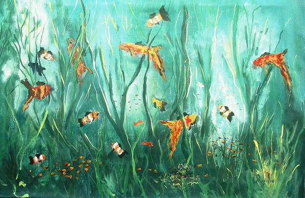 Under The Sea Fish Tank Salt Water Fish Ocean Dancing Fish Swimming Water Seaweed Art Print featuring the painting under the sea I by Miroslaw Chelchowski
