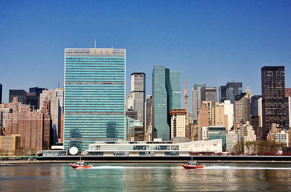 United Nations Art Print featuring the photograph United Nations Building by June Marie Sobrito