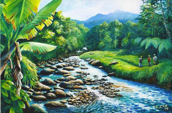 Chris Cox Art Print featuring the painting Upriver by Christopher Cox