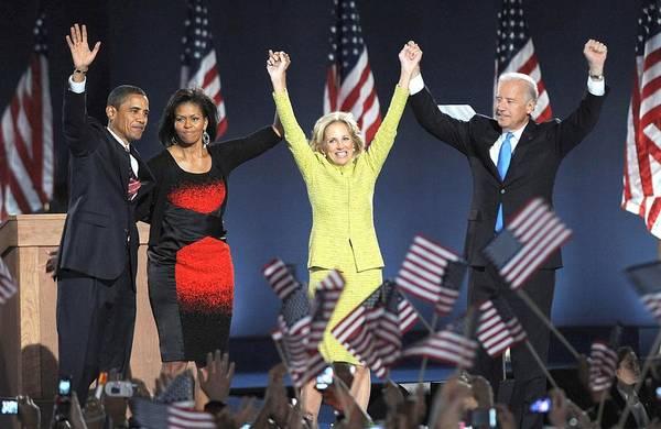 Barack Obama U.s. Presidential Election Victory Speech And Celebration Art Print featuring the photograph U.s. President Elect Senator Barack by Everett