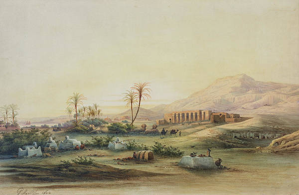 Valley Art Print featuring the painting Valley Of The Nile With The Ruins Of The Temple Of Seti I by Prosper Georges Antoine Marilhat