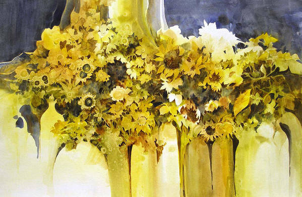 Yellow Flowers;sunflowers;vases;floral;contemporary Floral; Art Print featuring the painting Vases Full Of Blooms  by Lois Mountz