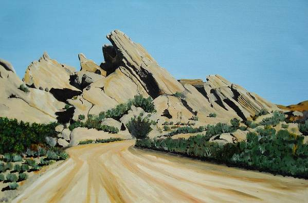 Rocks Art Print featuring the painting Vasquez Rocks by Stephen Ponting