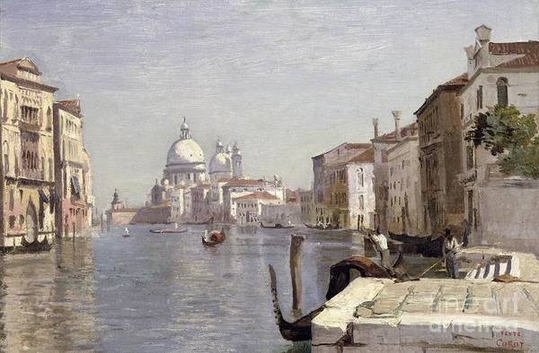 Venice Print featuring the painting Venice - View Of Campo Della Carita Looking Towards The Dome Of The Salute by Jean Baptiste Camille Corot