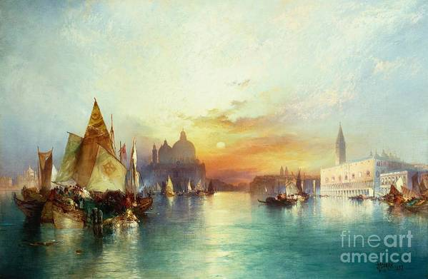 Venetian Scene; Sailing Boats; Architecture; Sunset; Atmospheric; Tranquil; Veneto-byzantine; Hudson River School; Italian; Dusk; Palazzo Ducale; Lagoon; Doge's Palace; Campanile; Thomas Moran Art Print featuring the painting Venice by Thomas Moran