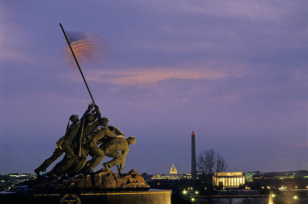 Bravery Print featuring the photograph View Of The Iwo Jima Monument by Kenneth Garrett