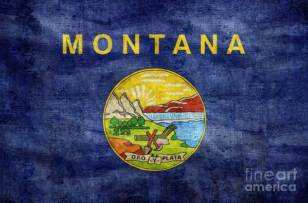 Montana Flag Art Print featuring the photograph Vintage Montana Flag by Jon Neidert