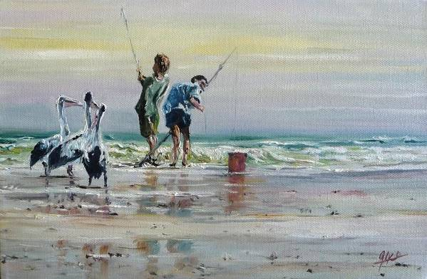 Seascape Art Print featuring the painting Waiting For A Feed by Diko