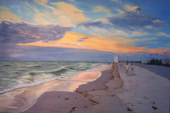 Seascape Art Print featuring the painting Walking On The Beach At Sunset by Lea Novak