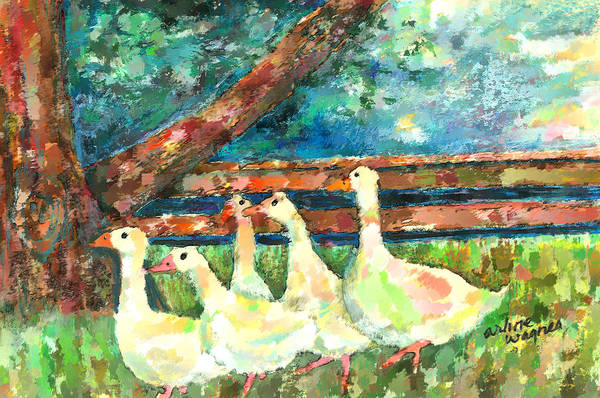 Ducks Art Print featuring the mixed media Walking Through The Grass by Arline Wagner