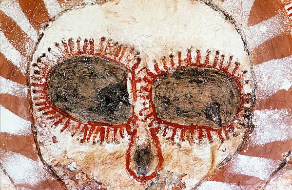 Aboriginal Rock Art Art Print featuring the photograph Wandjina Face by Tom Keating