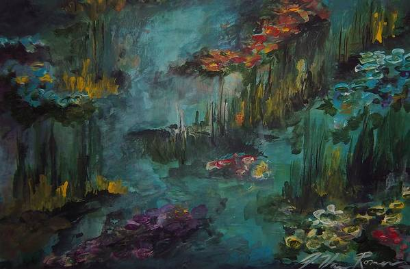 Art Print featuring the painting Water Lilies by Jim Van Romer