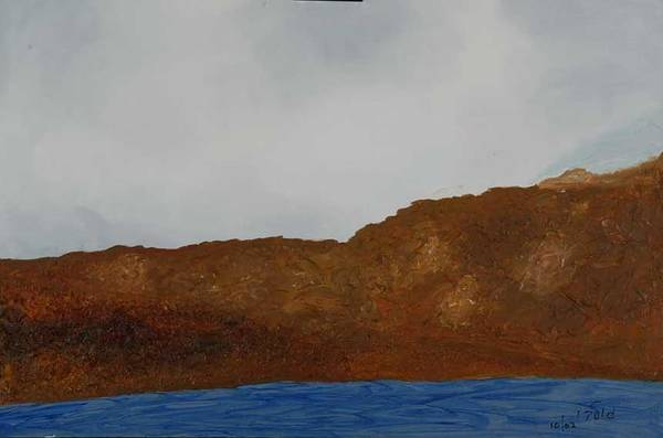 Water Art Print featuring the painting Water Mountain And Sky  by Harris Gulko