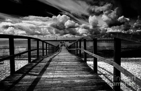 Southend On Sea Wharf Clouds Beach Sand Art Print featuring the photograph Wharf At Southend On Sea by Sheila Smart Fine Art Photography
