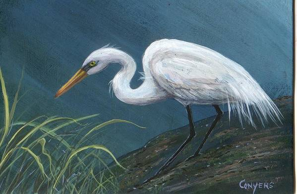 Heron Art Print featuring the painting White Heron by Peggy Conyers